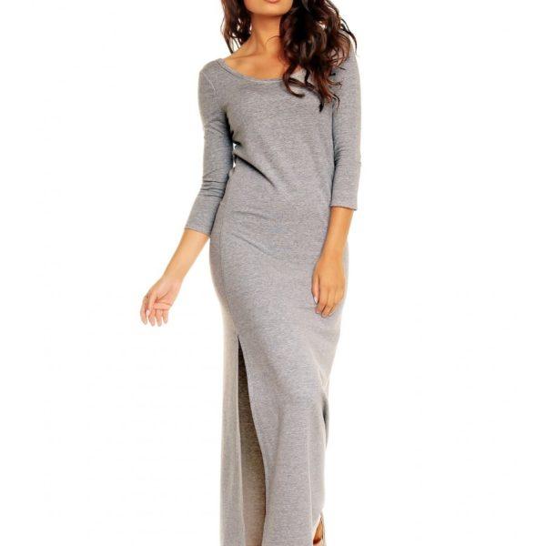 Bavlněné dámské šedé šaty s rozparkem na boku