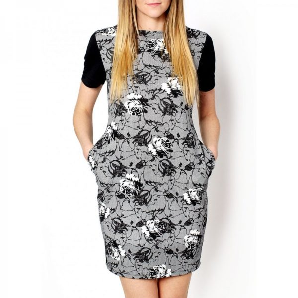 Dvoubarevné černo šedé šaty s květinovým vzorem