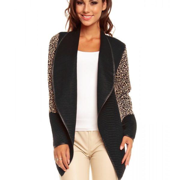 Elegantní černo béžový svetr bez zapínání