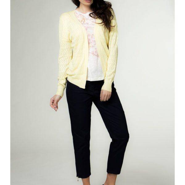 Elegantní dámský svetr na zapínání žlutý
