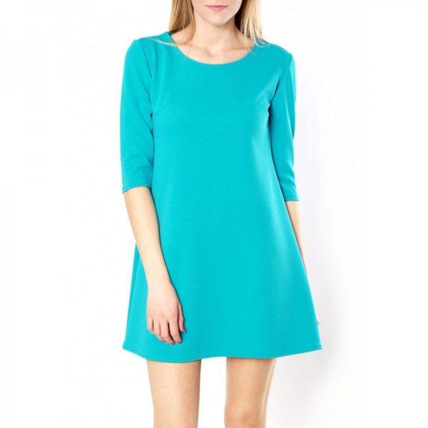 Hladké modré šaty s rukávy po lokty