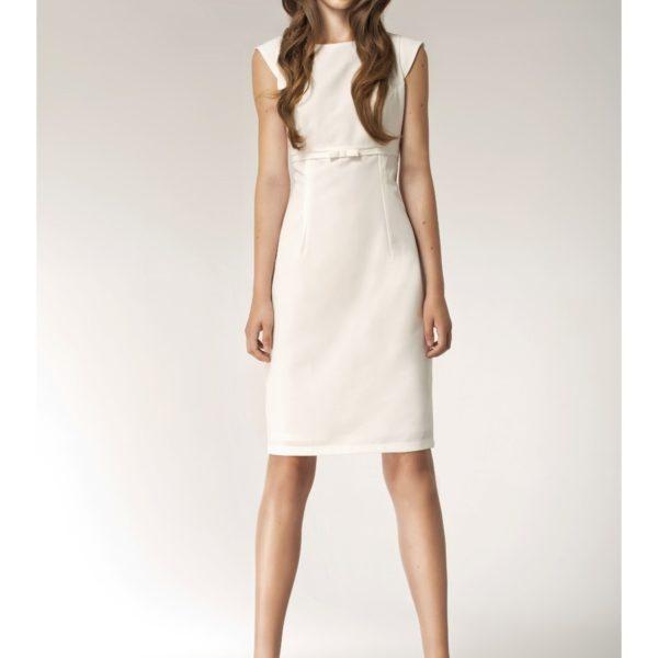 Klasické dámské béžové šaty bez rukávu
