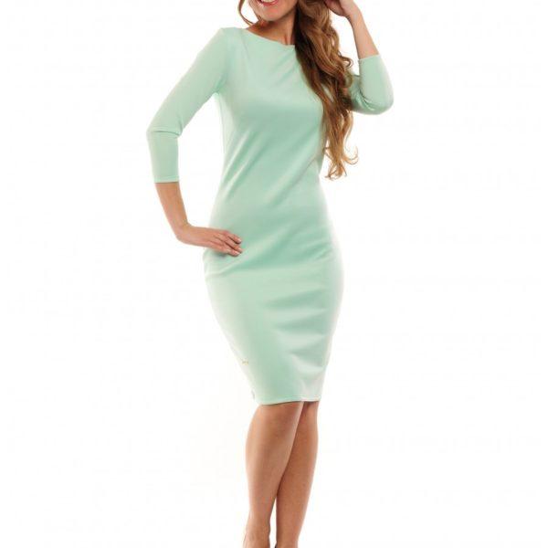 Krásné dámské zelené šaty s ¾ rukávem