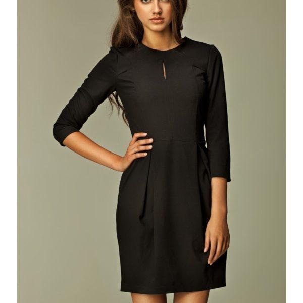 Krátké černé šaty S32 s ¾ rukávem