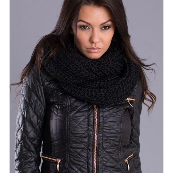 Kvalitní a teplý dámský černý šál 7420