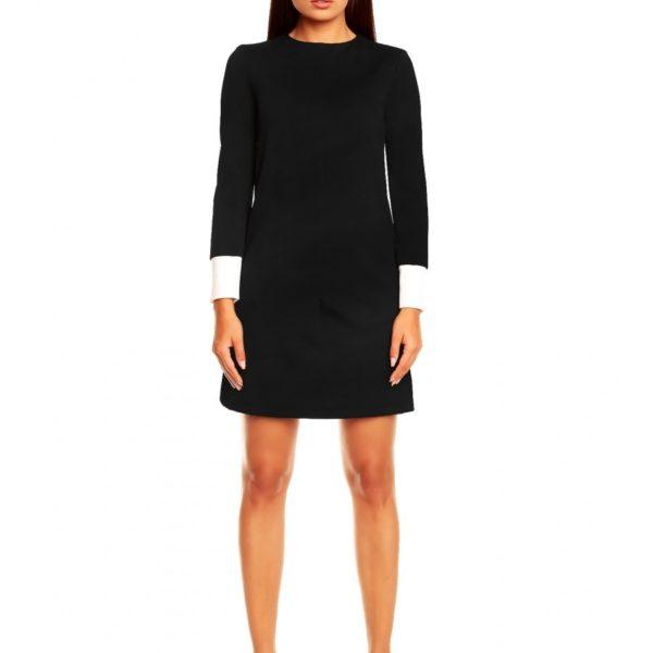 Letní černé šaty 01 s barevným lemem rukávu