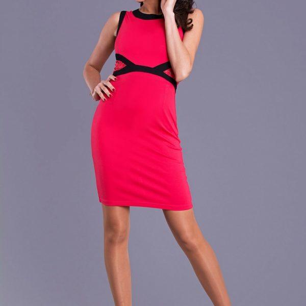 Modní dámské červené šaty bez rukávu