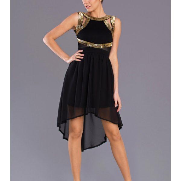Plesové černé šaty v prodlouženém stylu 7704
