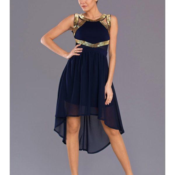 Plesové tmavě modré šaty v prodlouženém stylu 7704