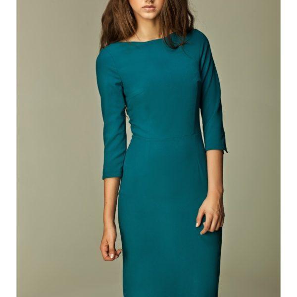 Stylové dámské modré šaty s ¾ rukávem