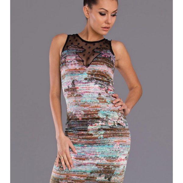 Vícebarevné růžové šaty s krajkou 7703