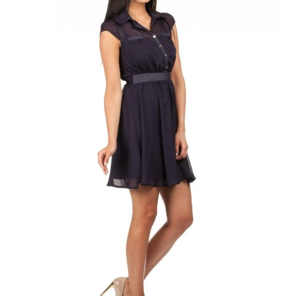 Vzdušné tmavě modré šaty s krátkým rukávem