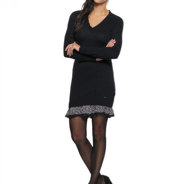 Značkové černé úpletové šaty Pepe Jeans