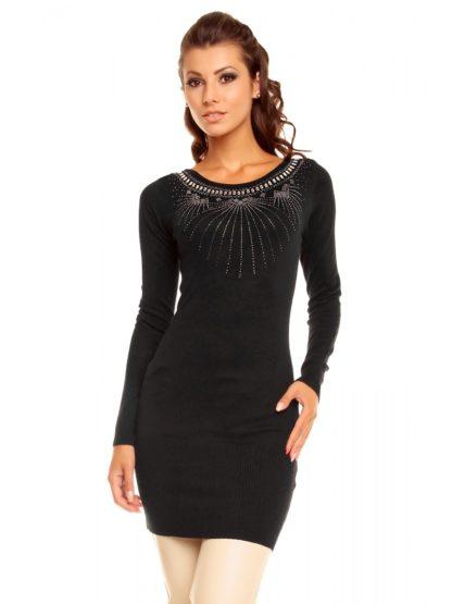 Modní šatová černá tunika s dlouhým rukávem