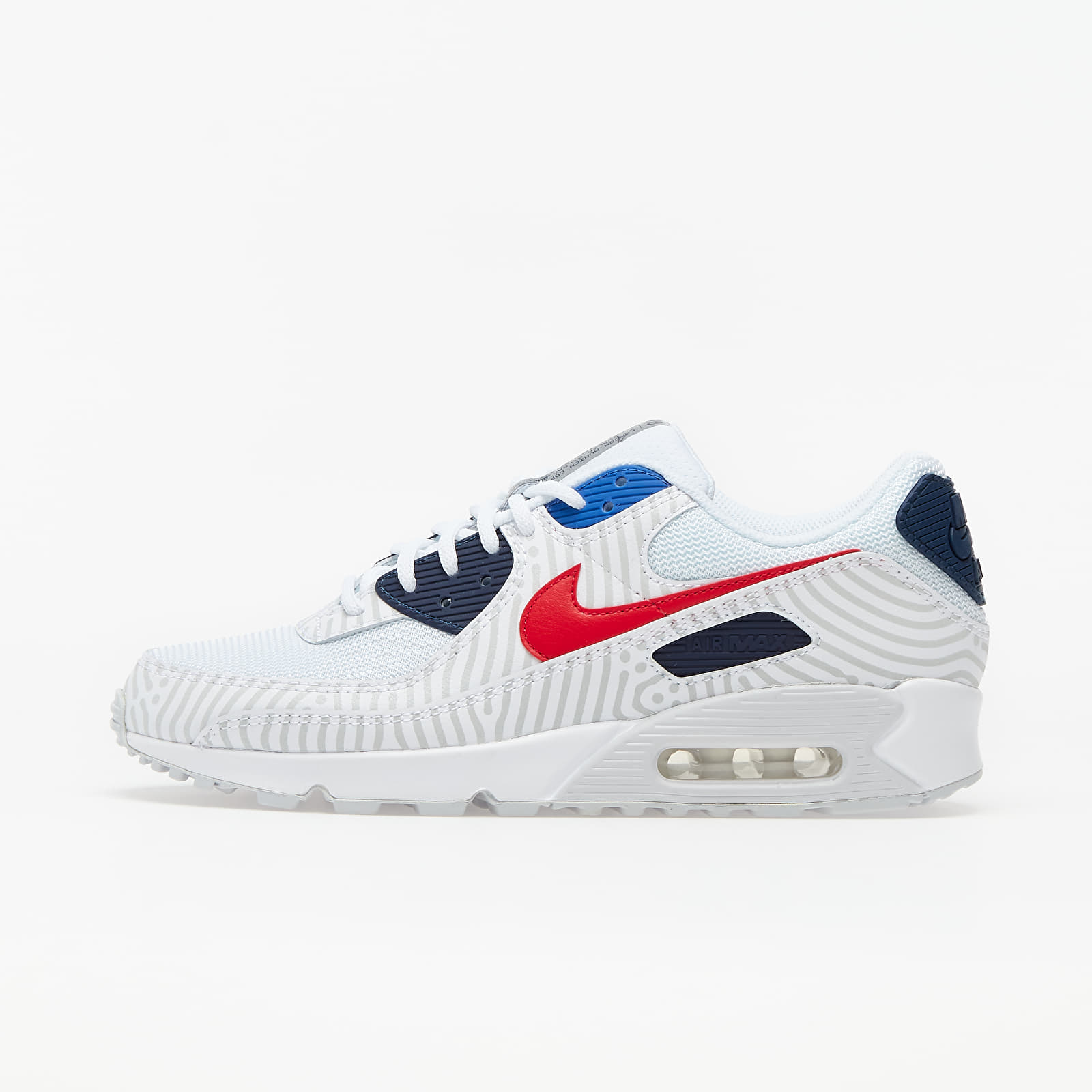 Nike Air Max 90 White/ University Red-Midnight Navy CW7574-100
