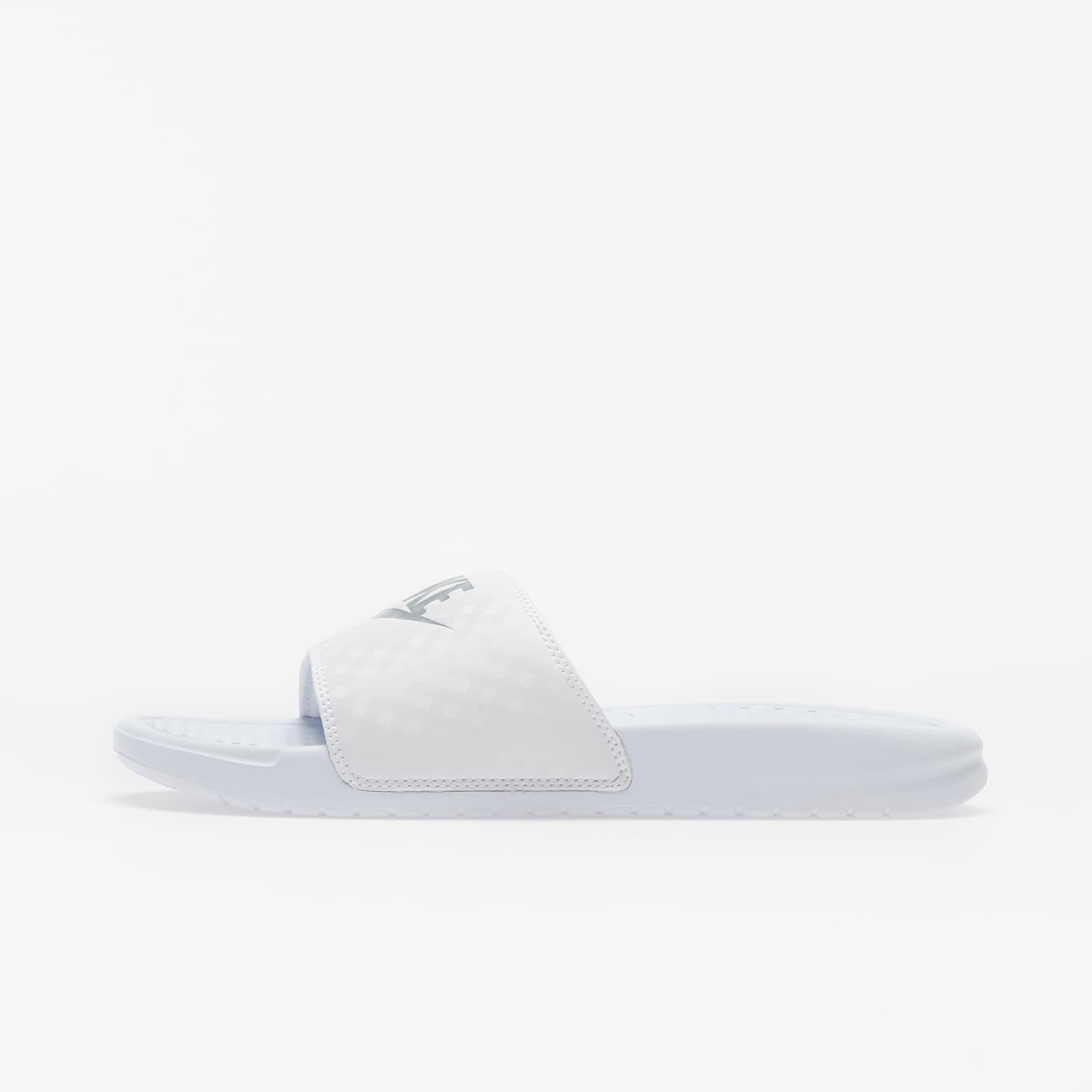 Nike Wmns Benassi Jdi White/ Metallic Silver 343881-102