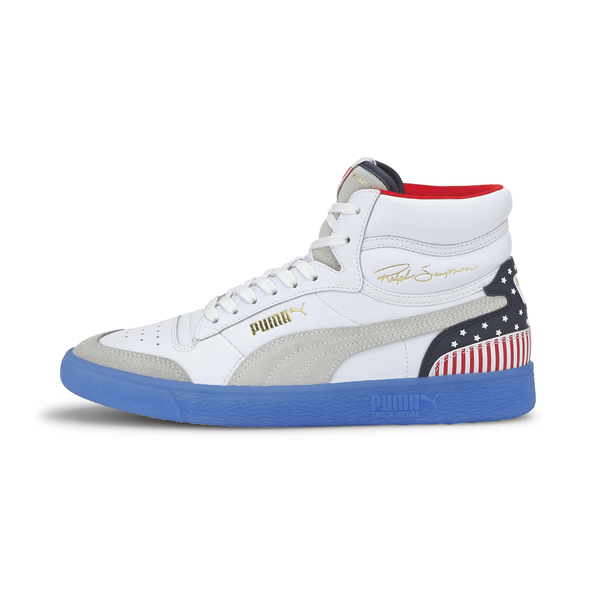 Puma Ralph Sampson Mid 4thofJuly Puma White-Peacoat-High Risk Red 37407301